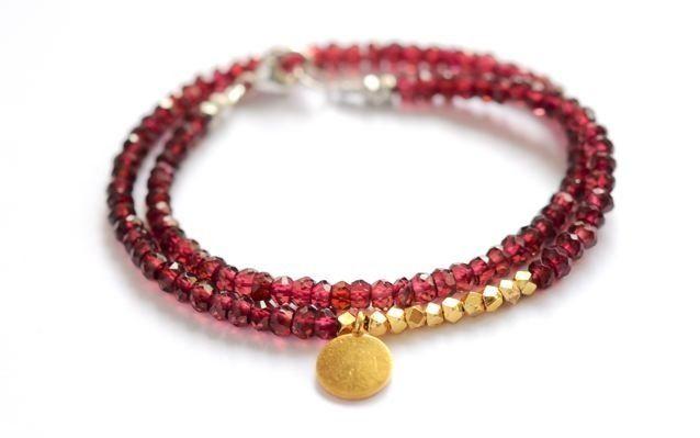 Image of Garnet and Gold vermeil Garnet Double wrap bracelet by Vivien Frank