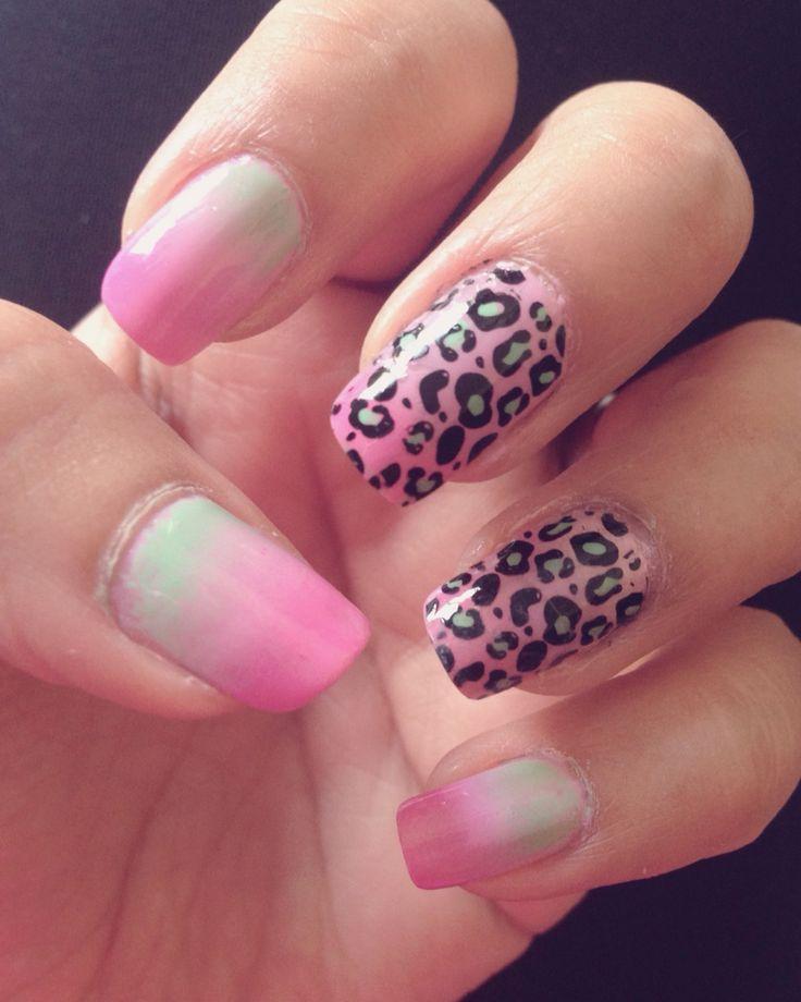 Pink leopard print ombre nails u as de leopardo rosa - Decoracion en cebra ...
