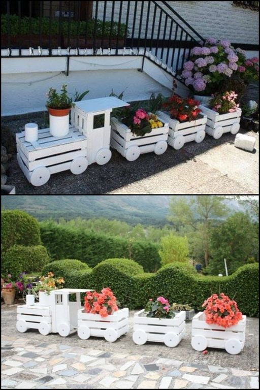 Turn old boxes into a train planter! Do you want one …