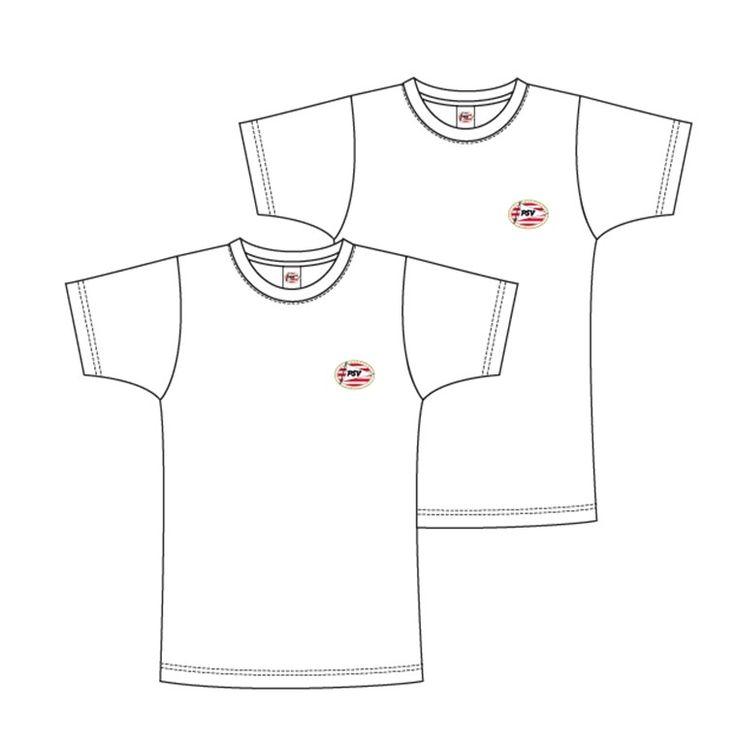 Een set met twee basic T-shirts van je favoriete club PSV. Kleur: wit. De T-shirts zijn gemaakt van 100% katoen.   Afmeting: volgt later.. - T-shirt psv flash basic 2-pack wit maat 104