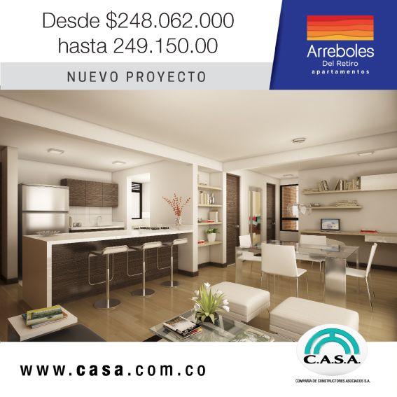 Compra tu apartamento desde $248.062.000 hasta $249.250.000, con parqueadero incluido. #arrebolesdelretiro #nuevoproyecto #apartamentonuevo