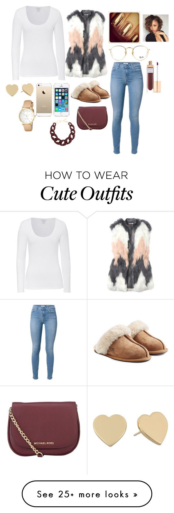 """mall ."" by naadabaddiest on Polyvore featuring Majestic, Rebecca Taylor, UGG Australia, MICHAEL Michael Kors, Ray-Ban, FingerPrint Jewellry, Kate Spade, DIANA BROUSSARD and Accessorize"