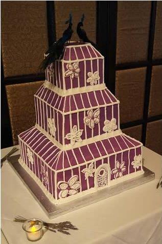 Victorian Wedding, Vintage Wedding, Purple Wedding, Purple Wedding Cake, Lavender Wedding Cake, Birdcage Wedding Cake, Creative Wedding Cake, Different Wedding Cake, Custom Wedding Cake, Peacocks Wedding Cake, Square Wedding Cake (Cake design exclusively by Alexis Davis)