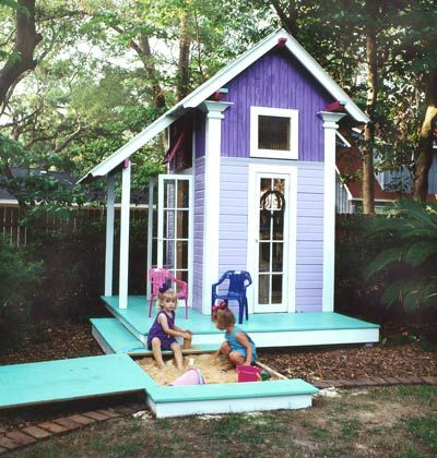 Playhouse  This playhouse makes a great outdoor project and is sure to please the kids. There's even a sandbox with a fitted lid that keeps out critters, leaves, and rain.