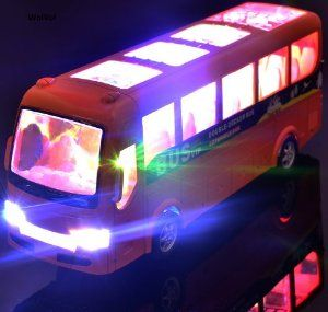 WolVol Electric Tour Bus Toy with Beautiful Flashing Lights and Music, goes around and changes directions on contact (Battery Powered) - Great Gift Toys for Kids. #Wolvol #Toy