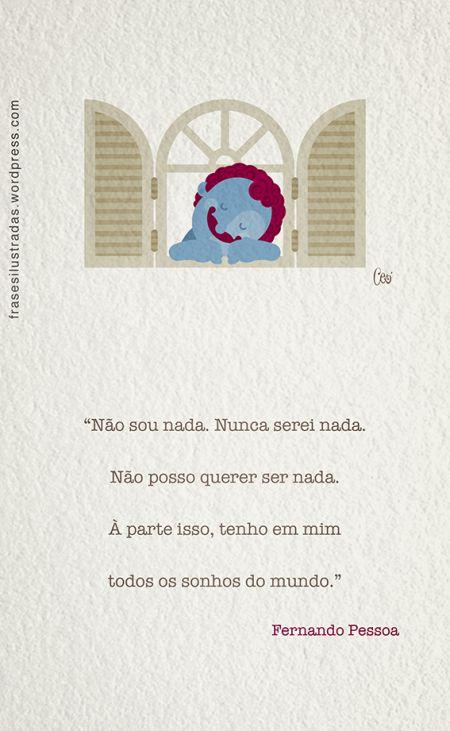 Fernando Pessoa (1888-1935) foi um poeta, filósofo e escritor português.  A frase é o início do poema Tabacaria, escrito em 1928.