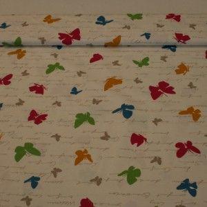 http://www.radicifabbrica.it/prodotto/tessuto-panama-dis-farfalle/ Tessuto panama in 100% cotone con fondo panna e fantasia con farfalle colorate e scritte.  il tessuto è alto cm 280 e il prezzo di Euro 13.00 si riferisce al metro lineare.  questo tessuto può essere usato per tovaglie, cuscini, copriletti e teli copritutto.
