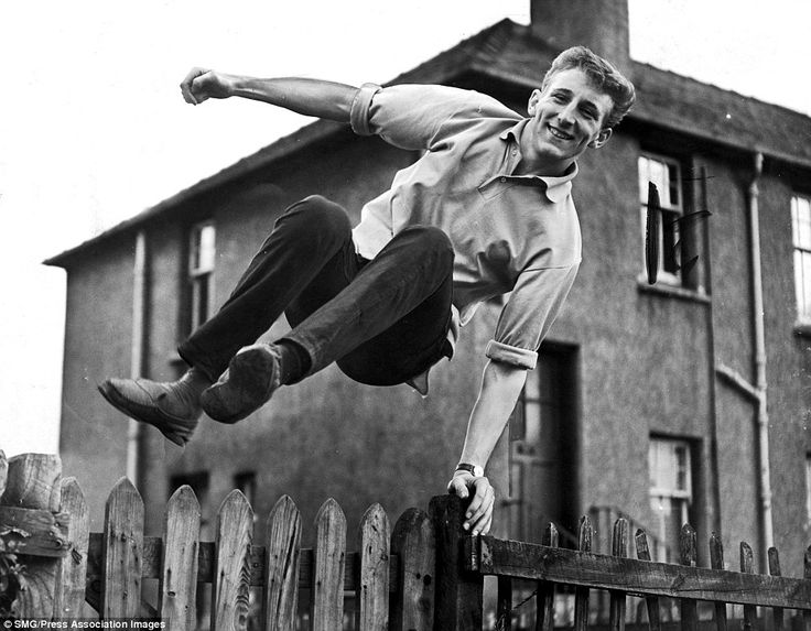 There's a real joy about this picture of Celtic star Tommy Gemmell jumping over his garden fence in 1961. Gemmell had only recently joined the Glasgow giants - over the next ten years, he would become a legend at the club. The defender famously scored the equaliser in Celtic's 2-1 win over Inter Milan in the 1967 European Cup final