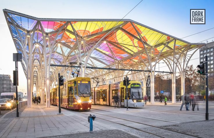 New tram stop in city centre of Łódź Poland [2000x1290]