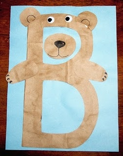 B is for bear craft, could do white paper on blue paper to make the bear look like a polar bear for winter