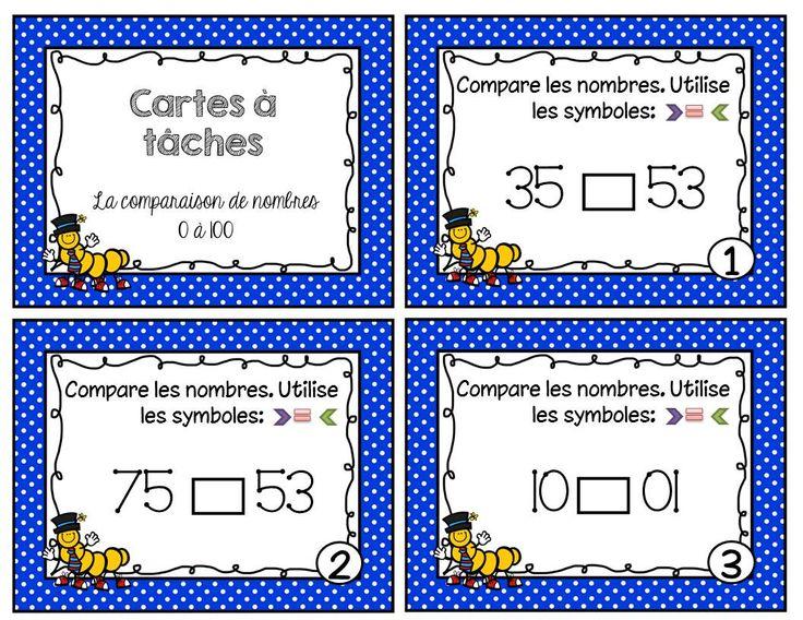 Voici un ensemble de 27 cartes à tâches sur la comparaison des nombres de 0 à 100.