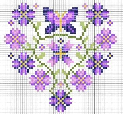Purple butterfly flower heart cross stitch