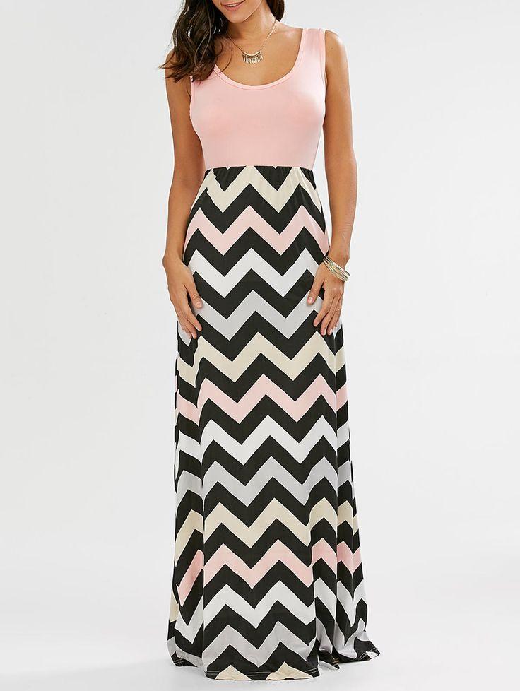 Maxi Dresses   Pink Sleeveless Maxi Striped Tank Dress - Gamiss
