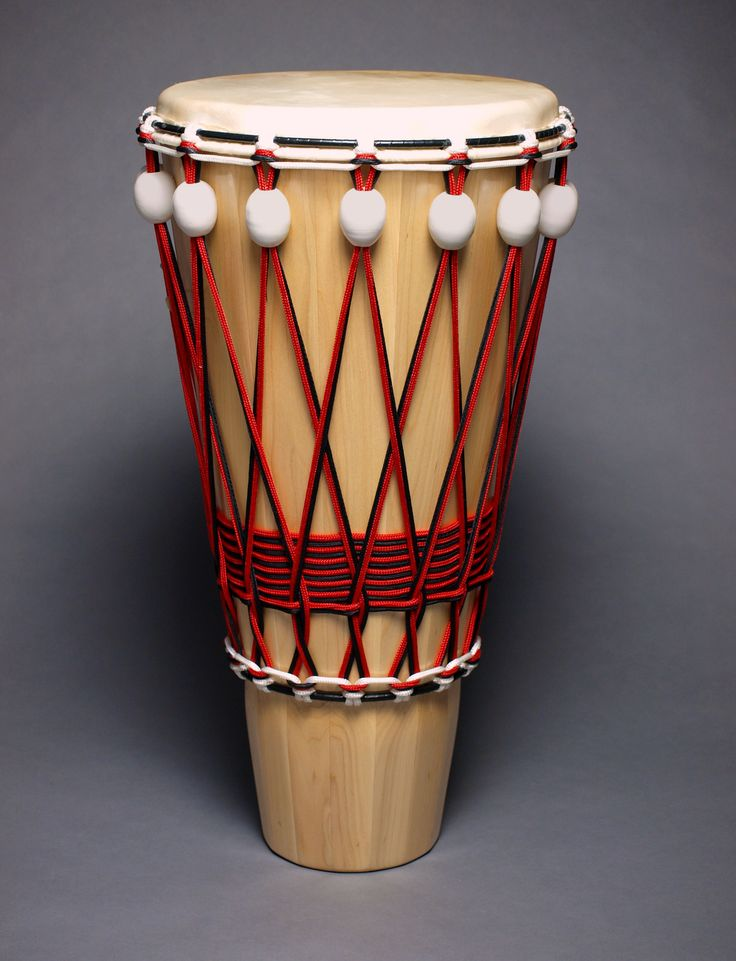 "Ashiko hand drum with ceramic tuners by JJ Savage, 28"" x 14"""