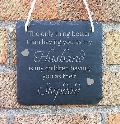 PERSONALISED FATHERS DAY GIFT FOR STEPDAD SLATE HANGING PLAQUE SIGN | Other Celebrations & Occasions | Celebrations & Occasions - Zeppy.io
