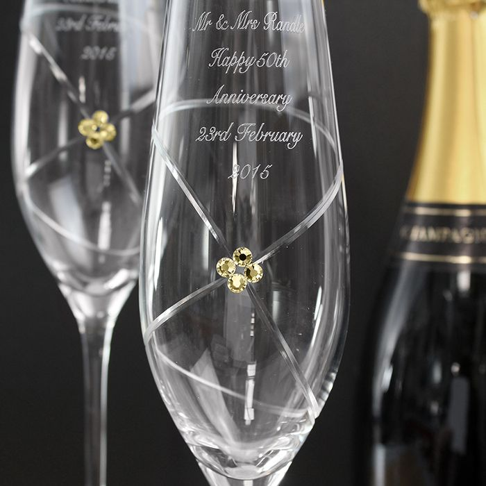 Swarovki Crystal Champagne Flutes Available From Mygift These Gorgeous Infinity Personalised Feature A Charming Ruby Swarovski