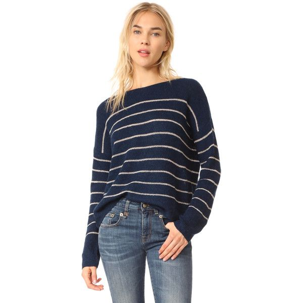 MKT Studio Kold Sweater (£150) ❤ liked on Polyvore featuring tops, sweaters, navy, blue top, slouchy sweater, navy sweater, blue sweater and blue striped top