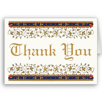 Express your thanks in an elegant manner with this Celtic Medieval Border and Gothic gold lettering. Ornate leaves and vines complete the look with vintage elegance. Thank You text is customizable. Blank inside to add your own greeting.