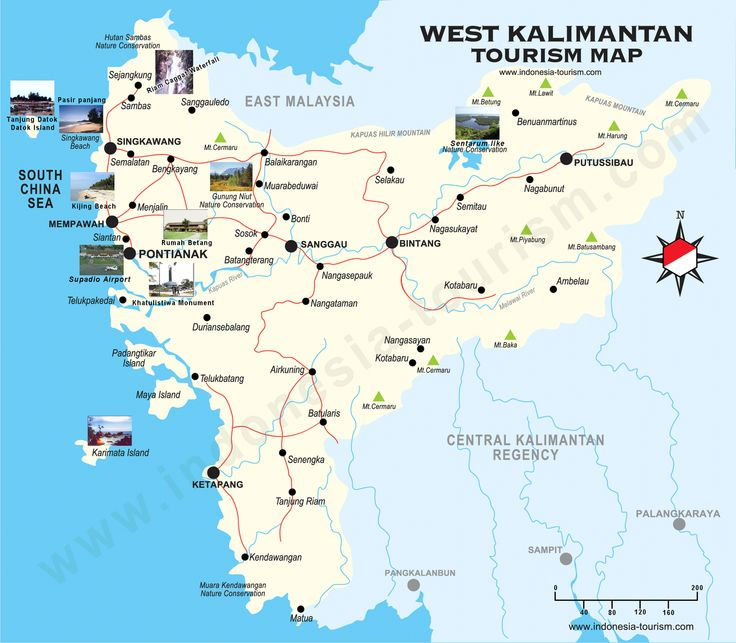 Map West Kalimantan, Indonesia.