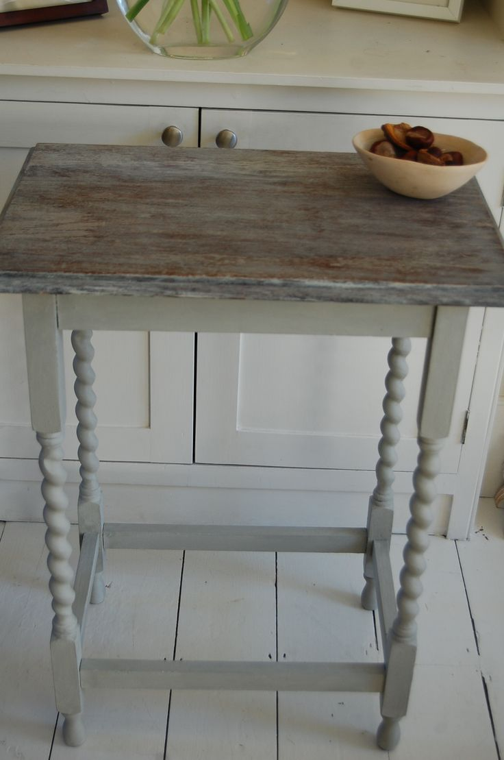 annie sloan, paris grey, limed, stripped, barley twist legs, side table, wooden, restored, revamped, upcycled, preloved reloved, repainted, ...