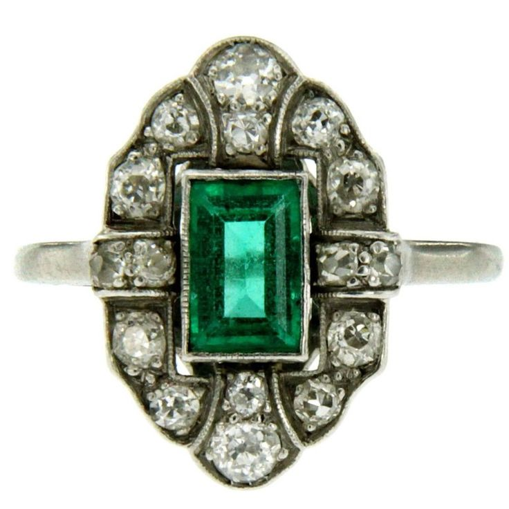 Art Deco Colombian Emerald Diamond Platinum Ring | From a unique collection of vintage engagement rings at https://www.1stdibs.com/jewelry/rings/engagement-rings/