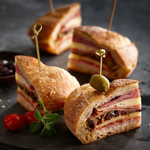 Basil Pesto Muffuletta Sandwich #recipe