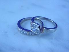 18ct White Gold Wedding Set with White and Pink Argyle Diamonds    www.pawnbank.com.au