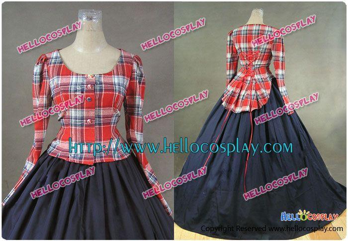 Civil War Victorian Ball Gown Cosplay Tartan Day Dress