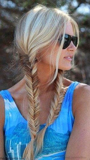 fishtail braids // i'm gonna be honest. I hate when girls wear their hair in pigtails, but this one is actually cute!Fish Tail, Hairstyles, Hair Colors, Summer Hair, Fishtail Pigtails, Long Hair, Beautiful, Hair Style, Fishtail Braids