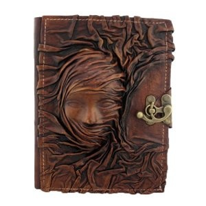 3D Head Scarfed Woman on a Brown Leather Bound Journal