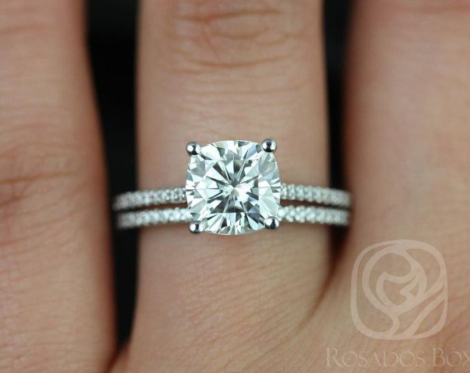 I Love The Double Band Single Thin Looks Awfully Fragile Sometimes Marcelle White Gold Cushion Fb Moissanite And Diamond Cathedral Wedding Set