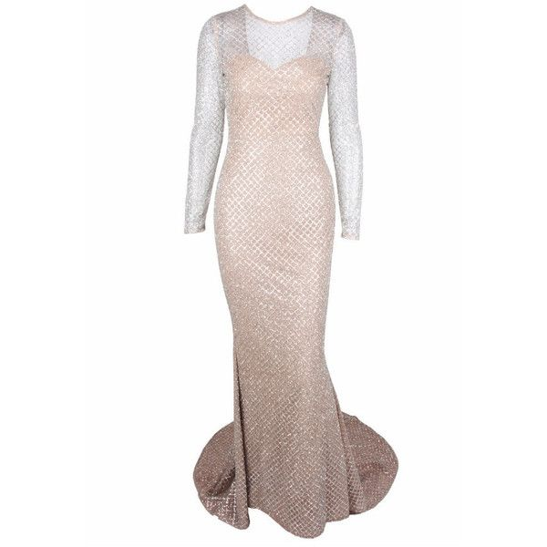 Honey couture sabine silver glitter nude formal gown dress ($219) ❤ liked on Polyvore featuring dresses, gowns, formal dresses, long sleeve formal dresses, white ball gowns, silver formal gowns and sexy formal gowns