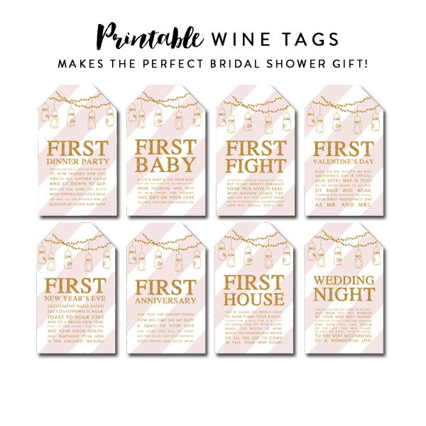 Wedding Gift Wine Tags Printable : bridal shower gifts on Pinterest Bridal shower bouquet, Cute bridal ...