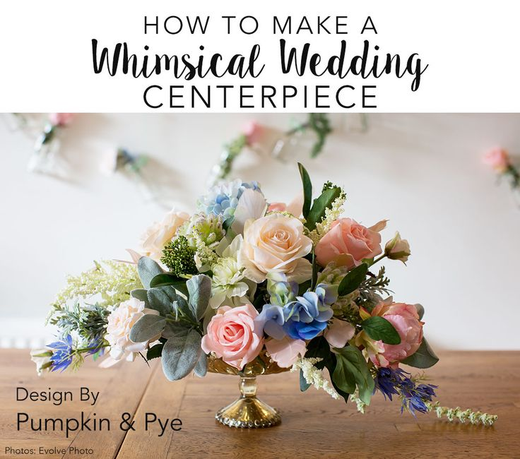 Watch this video and learn how to make a diy centerpiece for your whimsical wedding using beautiful faux flowers from afloral.com. #fauxflowers  Design by Pumpkin and Pye Photos by Evolve Photo