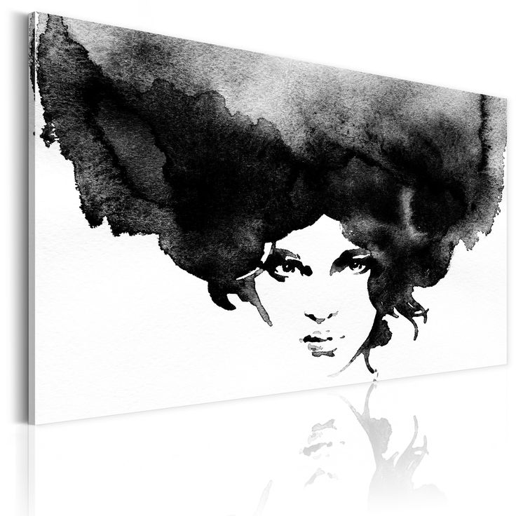 Obraz kobieta #picture #decor #woman #black #white #sztuka