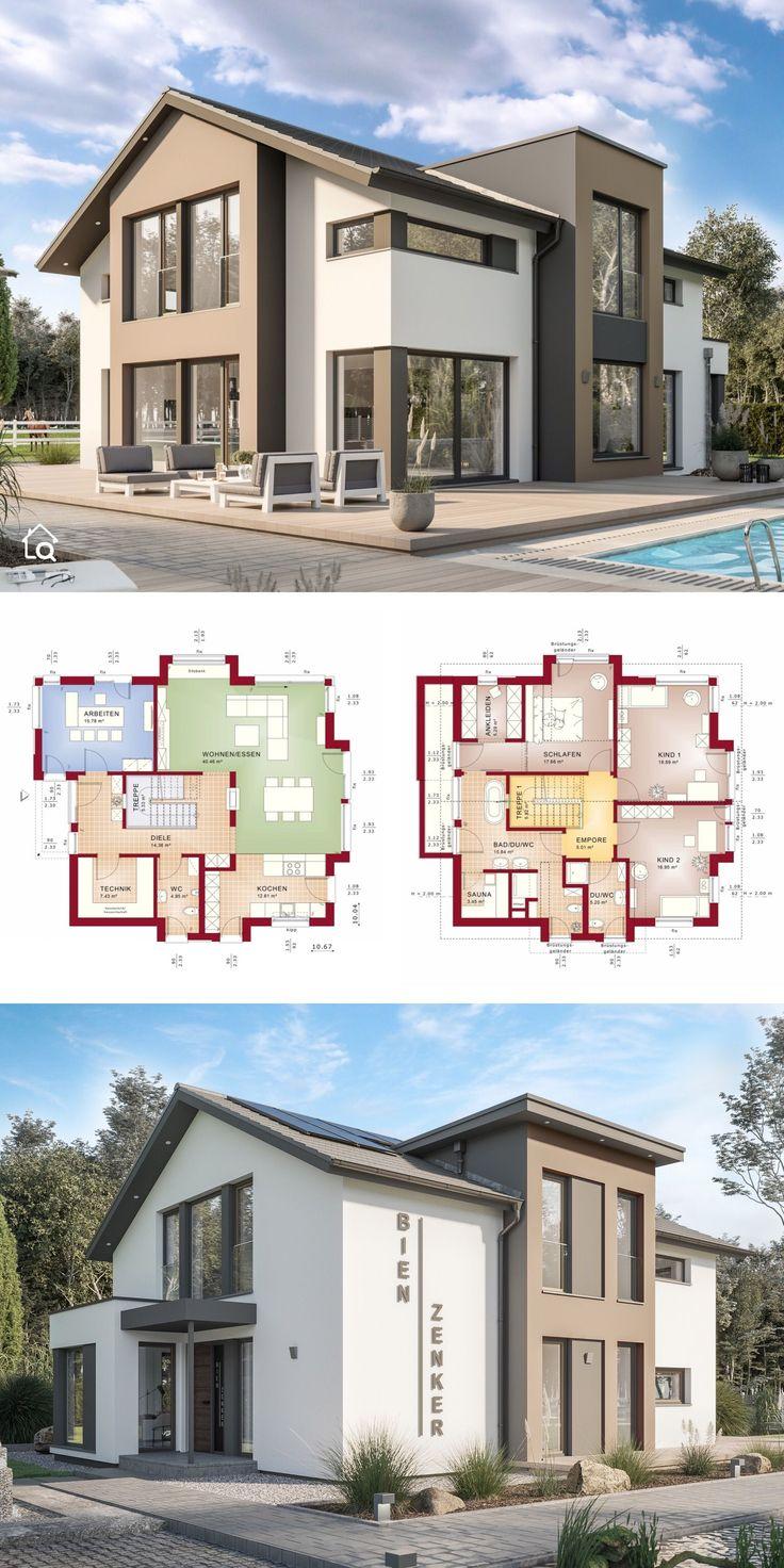 Fertighaus modern mit Satteldach Architektur & Zwe…