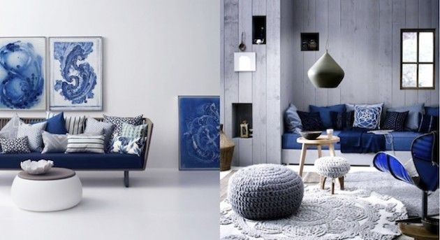Blue, White and Grey themed living room