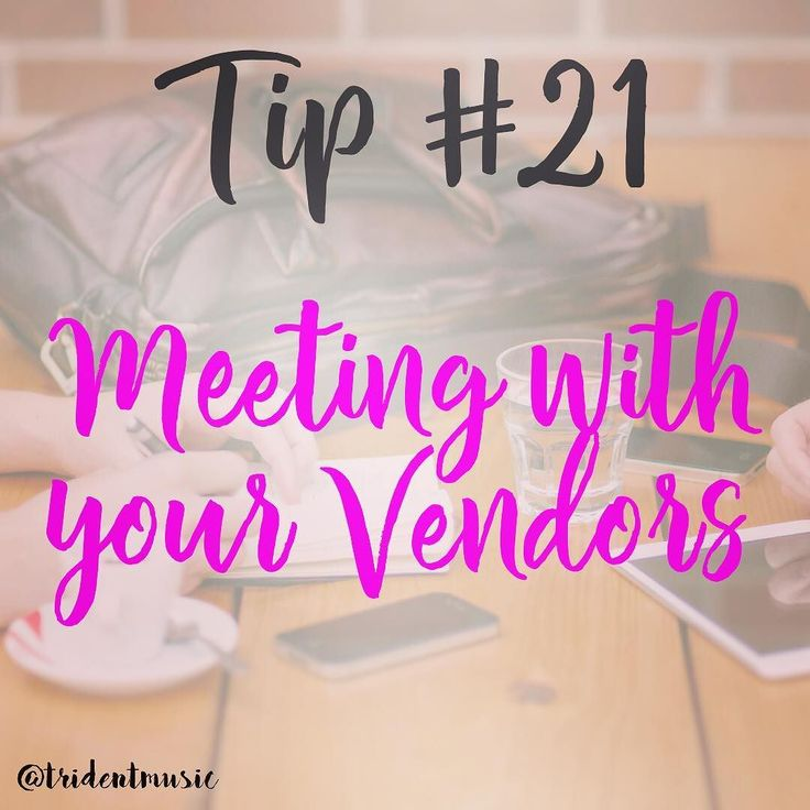 Tip #21 #tips Meeting with your Vendors . A wedding day doesnt just comprise of two families becoming one. Behind the scenes there are about 30 different vendors who are helping this entire day flow seamlessly. . I know we talked about your vendors in a previous post but this one would be more of what you need to get out of that meeting! . It's important to meet face-to-face with vendors and if that isn't possible whether because you're throwing a destination wedding or you need to book now…