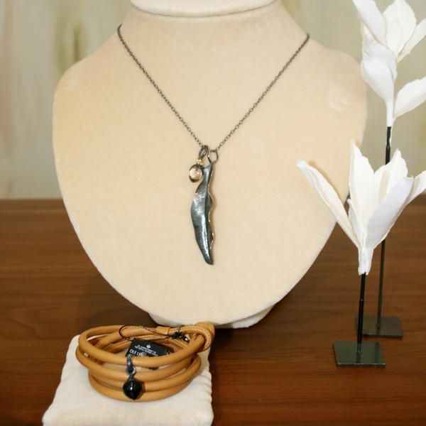 Ole Lynggaard Contemporary Silver Jewellery Capsule - Camel Leather Bracelet & Onyx Charm - Buy on 3mth subscription