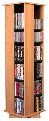 """Revolving CD Rack - Multi Media Oak/Black (Oak/Black) (56"""" x 18.75"""" x 18.75"""")"""