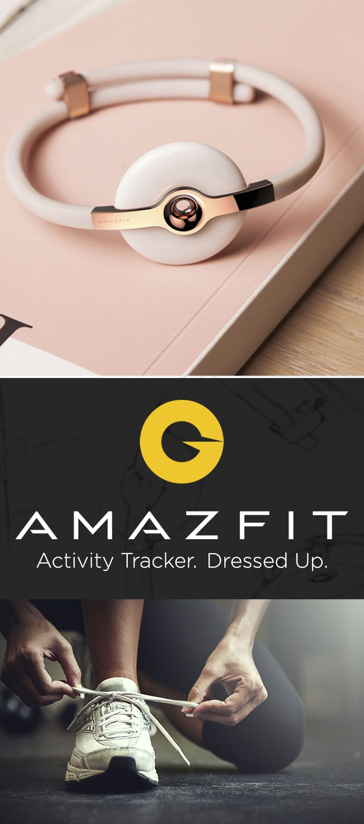 Activity tracker.  Dressed up.  Pair Amazfit with any outfit - from your Sunday best to your gym leggings.  Stylish and thin, Amazfit tracks your day seamlessly.