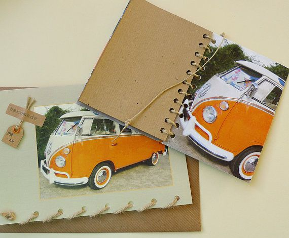 GIFT SET Journal with Pencil and Card  Orange VW by jmmCards, $15.00