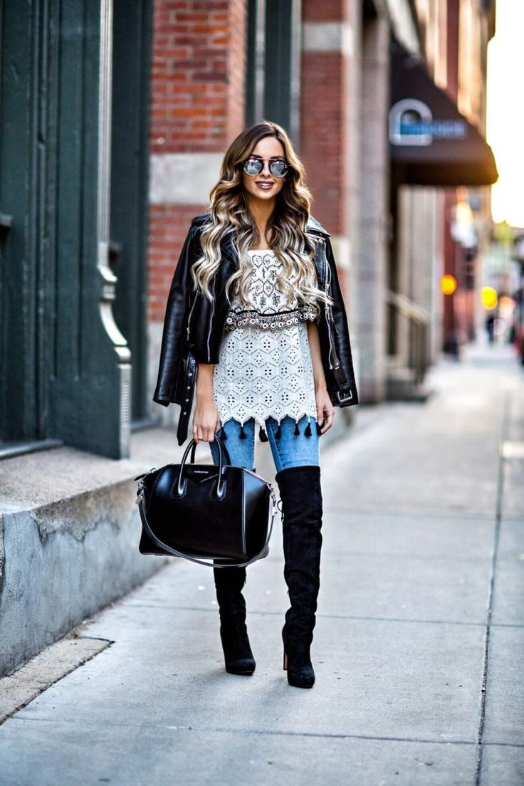Blue Jeans And Black Over The Knee Boots