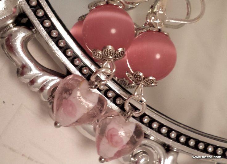 Beautiful Murano Glass Heart Dangle Earrings by abzzadesigns on Etsy