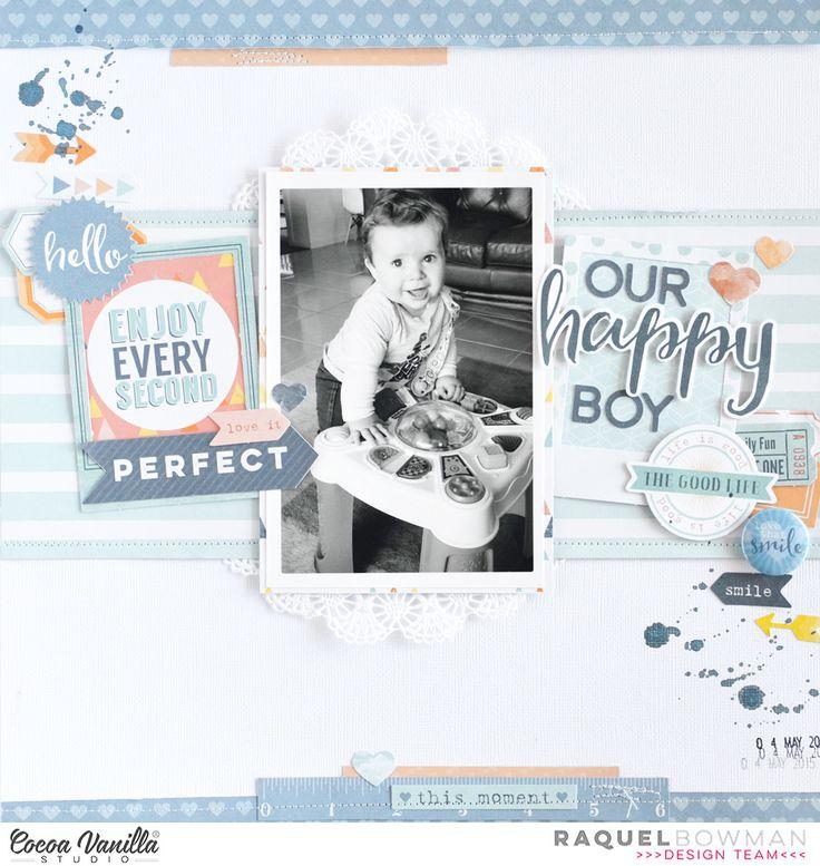 #papercrafting #scrapbook #layout idea: Our Happy Boy *Cocoa Vanilla Studio* - Scrapbook.com