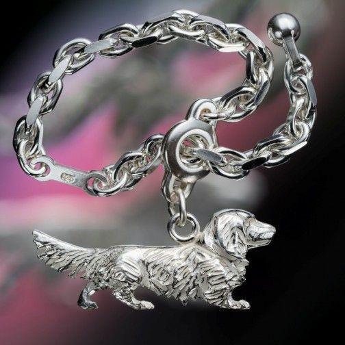 Langhaardackel - Schlüsselkette aus Silber