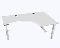 An electric height-adjustable, L-shaped standing desk. Perfect for those looking for modern executive feel of a large corner desk at an affordable price.