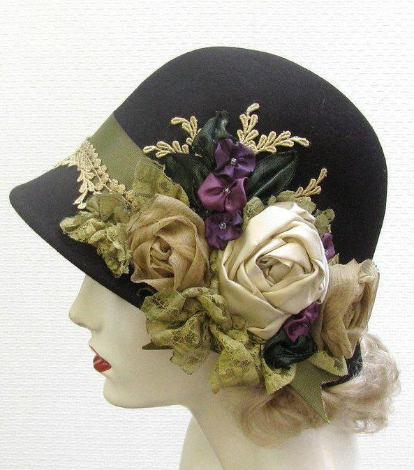 1920s style hat w/ roses
