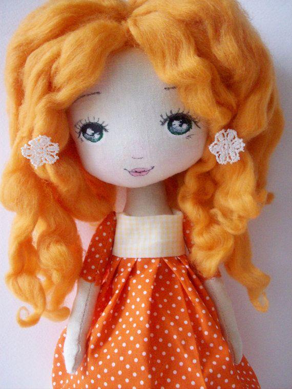 cloth doll curly doll girl gift nursery por Mydollsforyou en Etsy