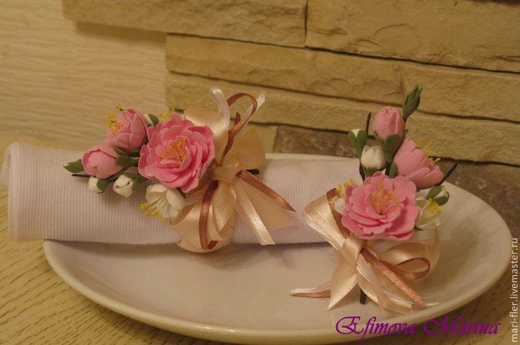 Купить Кольца для салфеток - розовый, салфетка, кухня, подарок, полимерная глина, атласные ленты